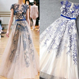 Wholesale Elie Saab White Dresses - Elie Saab 2016 Royal Blue Branch Evening Dresses Sexy Sheer Crew Neck Short Sleeves A-Line Floor-Length Tulle Prom Gowns Celebrity Dress