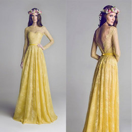 Full Length Red Backless Dress Canada - Yellow Crew Lace Open Back Formal Evening Dresses Full Length Sash Backless Party Dress Fast Delivery 2014 Summer Dress