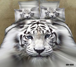Wholesale Tiger Animal Comforters - Hot Style 100% Cotton 3D Mighty Tiger Printed Bedding Sets Four Pieces Quilt Duvet Cover Fitted Sheet Pillow Cases In Stock Comforter Sets