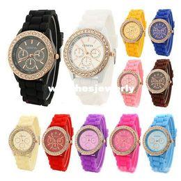 Wholesale Geneva Classic Watch - Wholesale-BKSW047 Hot Selling 2014 New 9 Colors Top Quality Fashion Classic Geneva Silicone Rhinestone Quartz Women Dress Watch