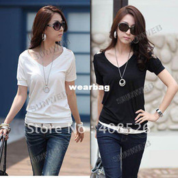Wholesale Korean T Shirt Free Shipping - Wholesale-new Stylish Korean Women's Girls Off Shoulder Short Sleeve V-Neck Casual T-Shirt Tops free shipping 5202