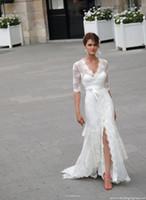 Wholesale V Slit Dressed - 2014 Lace Cymbeline Wedding Dresses Side Slit Sweep Train Bridal Gowns