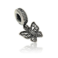 Wholesale Brand New High Quality Sterling Silver Vintage Butterfly Dangle Charm For Fitting Pandora Bracelet