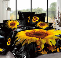 Wholesale 3d Unique Comforter Sets - Unique 3D Sunflower Printed Designs 100% Cotton Bedding Sets Four Pieces Quilt Duvet Cover Fitted Sheet Pillow Cases Comforter Sets