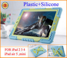 Wholesale Ipad Shock Proof Cover - New Pepkoo Defender Military Spider Stand Water dirt shock Proof Case Cover Plastic + Silicone for ipad 2 3 4 iPad Air 5 iPad Mini Retina