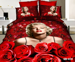 Wholesale Cotton Fitted Sheet Set - Amazing 3D Four Pieces 100% Cotton Marilyn Monroe And Red Rose Designs Bedding Sets Quilt Duvet Cover Fitted Sheet Pillow Cases