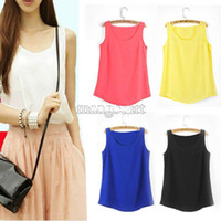Wholesale Trendy Tank Tops Wholesale - Wholesale-3 size Women Slim Fit Chiffon Blouses Top Vest Shirts Trendy Shirt Solid candy Summmer tank Vest Shirts B003 SV001823