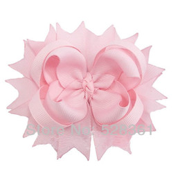 """Wholesale Spike Hair Accessories - U Pick Color 60pcs 4"""" Solid Layered Twisted Boutique Spike Hair Bow Clips Baby Girl ribbon Hair Clips Hair Accessory"""
