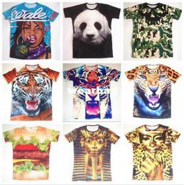 Wholesale T Shirt Plus Size Tiger - Wholesale-New 2014 Summer Men Women 3D Animal Tiger Wolf Foods Fruits Hamburger Printed T-Shirt Brand Casual T Shirt Plus Size M-XXL