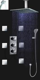 Wholesale Auto Metal Polish - Auto- Thermostat Control Rainfall Bathroom Mixer Set For Bath With 16 Inch Ceil Mounted LED Rainfall Shower Head Set 007-16-3H