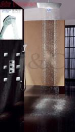 $enCountryForm.capitalKeyWord Canada - Ceil Mounted Air Drop UFO Ultra-thin Rain Shower Head Faucet Concealed Thermostatic Rain Bathroom Shower Faucet Set 007-55X35TA-3H