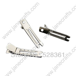 Wholesale Wholesale Double Prong Clips - 47mm(1 7 8 Inch) Metal Double Prong Alligator Clips Wholesale Lot 100 Pcs FREE SHIPPING Fashion Hair Accessory in Bright Silver