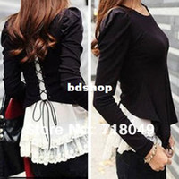Wholesale Ladies Blouses For Spring - Designer Faux Two-piece Lace Chiffon Blouse Shirt wIth Cardigan for Women 2014 Spring Fashion Ladies Casual Tops Free Shipping