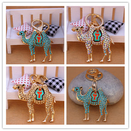 Wholesale Full Purse - New Design Full Rhinestone Crystal Camel llama Desert Car KeyChain Alloy Keyring Bag Purse Charm Real Gold Plated Free Shipping