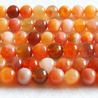 "Wholesale Orange Cross Bracelet - Discount Wholesale Genuine Orange Chalcedony Sard Agate Round Loose Beads 4-16mm DIY Jewelry Necklaces or Bracelets 15.5"" 03671"