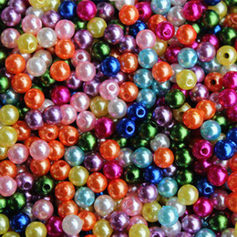 Wholesale 6mm Acrylic Beads - Free Shipping 1000 PCs Acrylic beads Pearl Imitation Round Beads 6mm Jewelry Findings Wholesales For Jewelry Making Craft DIY