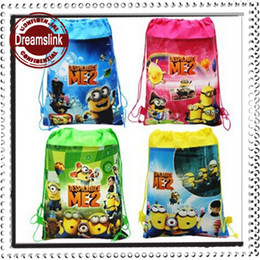 Wholesale Men Baby Bags - Despicable drawstring bags children yellow little man backpacks Kids schoolbag baby handbags boy's girl's birthday present