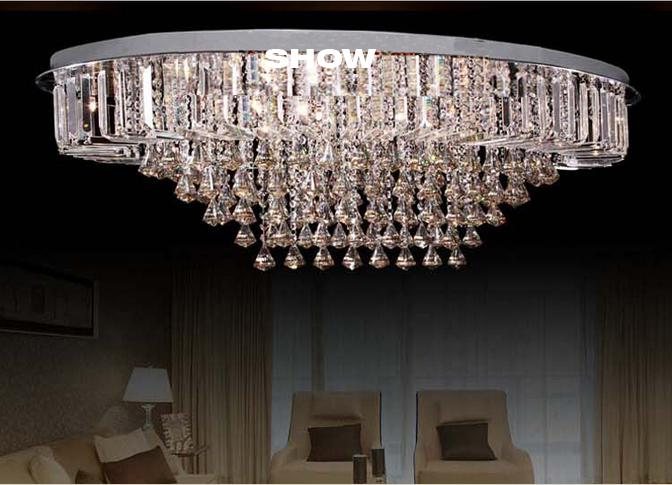 New Luxury Flush Mount Oval Modern Big Crystal Chandelier Ceiling