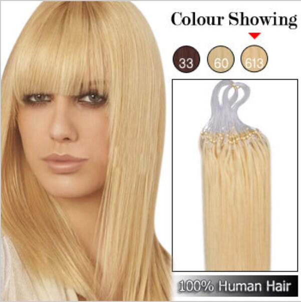 Peruvian #613 Micro Loop Virgin Human Hair Extensions ,Remy Human hair 1G/S 100 Strands 100% Pure Human Hair