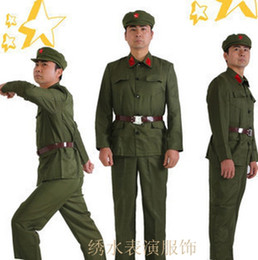 Wholesale Red Revolution - Revolutionary Army uniform apparel clothing Red Red Guards during the Cultural Revolution clothing costume photography old uniforms Specials