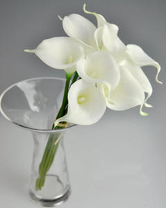 Wholesale calla resale online - Latex Callas cm Elegant Silicon Artificial Egyptian Calla Lily Alocasia Plumbea Flower for Wedding Bridal centerpieces Decorations