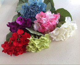 silk hydrangea wedding centerpieces 2019 - 12pcs Silk Artificial Hydrangea Fake Hydrangeas Flower for Wedding Bouquet Centerpieces Home Decorative Flowers Christma