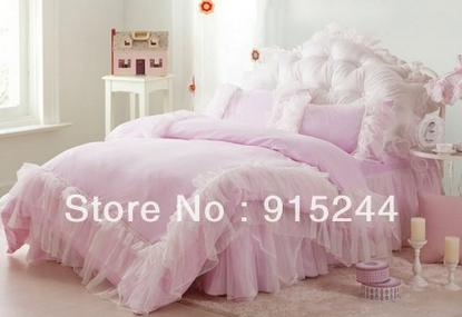 White ruffle wedding queen bedding set king size pink lace rustic cotton duvets quilt cover comforter set bedspread pillows cushion