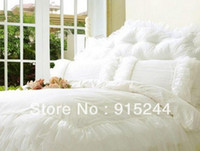 Wholesale Rustic King Size Beds - White ruffle wedding queen bedding 4pcs set king size pink lace rustic cotton duvets quilt cover comforter set bedspread pillows cushion