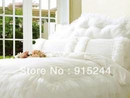 оборка одеяла набор королева Скидка Белый рябить королева свадьбы постельные принадлежности 4 шт. Набор король размер розовый кружева деревенский хлопок одеяла одеяло обложка одеяло набор покрывало подушки Подушки
