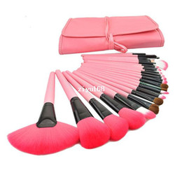 Chinese  Professional 24 pcs Makeup Brushes Set Charming Pink Cosmetic Eyeshadow Brushes Free Shipping manufacturers