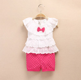 Wholesale Grid Girls Clothing - Wholesale - New Style summer girls clothing hollow out doll neck top vest + grid shorts sport 2pcs Good quality 4s l