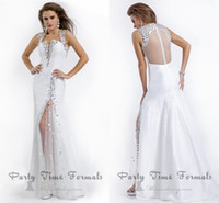 Wholesale Colorful Mermaid Pageant Dresses - White Taffeta Homecoming Dresses Side Slit 2016 Sheer Back Prom Dress colorful Evening Dress Crystal Pageant Homecoming Dresses New WD413