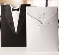 Wholesale Dress Style Invitation - New Arrival Personalized Design The Bride and Groom Dress Style Invitation Card Wedding Invitations Envelopes Sealed Card Top Quality