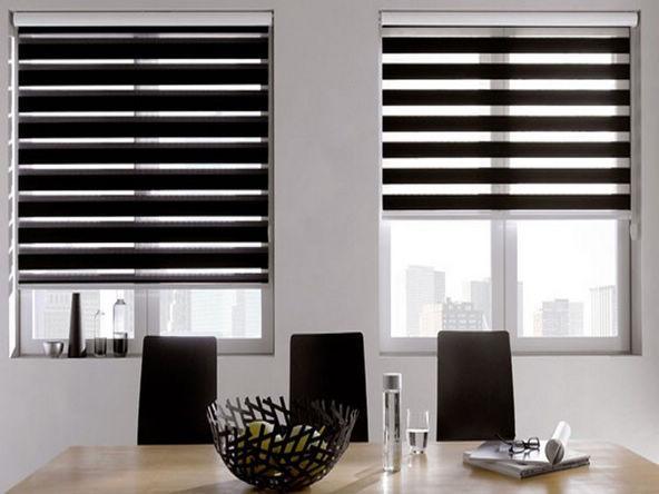 Translucent 100 Polyester Roller Zebra Blinds in Black Window