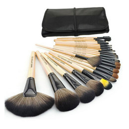 Wholesale cases make - Professional 24 PCS Makeup Brush Set Make-up Toiletry Kit Wool Brand Make Up Brush Set Case