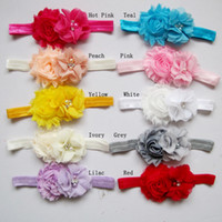 Wholesale Shabby Pearl Headbands - Trial order New Baby Infant headbands solid shabby flower with pearl chiffon flower hairbands kids hair accessory 8pcs lot drop shipping