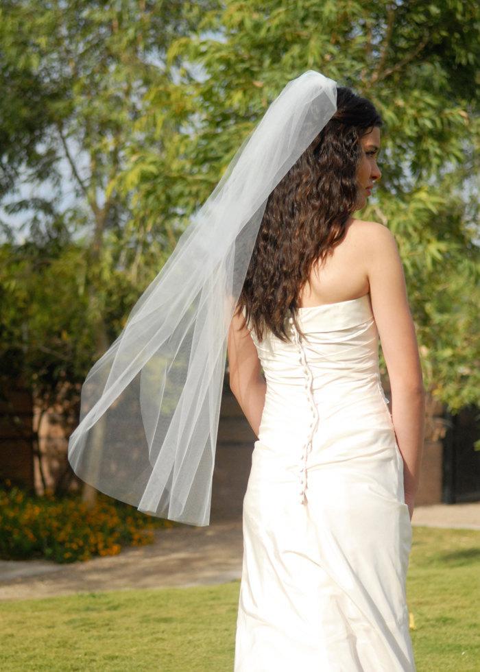 شعبية تصميم بسيط الزفاف الحجاب قصيرة طول الكوع طبقة واحدة حافة الحافة تول الزفاف التبعي مخصص
