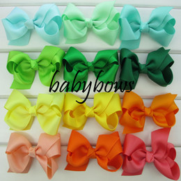 Ribbons For Hair Canada - 40 colors 3.3'' ribbon bow for baby hair bows WITHOUT clips girls hair accessories 50pcs lot HJ001