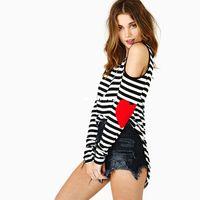 Wholesale Punk Clothing Women Xl - Wholesale-Brand T-Shirts Navy Style Striped T Shirt New 2014 Heart Patch Designs Open Shoulder Hollow Punk Shirt Women Clothing Plus Size