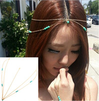 Brand New Gold Tone Crown turquoise Stone chaîne Hairband tête de bande Headband Hair Piece Party [JH04011 * 10]