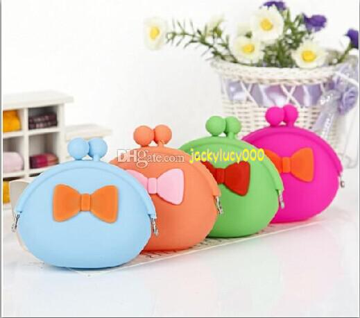 new fashion Creative cute bow bag purse silicone coin bag Cute Candy Colored Jelly Silica Wallet Child Women Coin Purses Christmas Gift