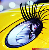 Wholesale Eyebrow Stickers - Wholesale-1pair lot Sexy car GA GA 3D Eyelash 3D car logo sticker light eyebrows,  3D Automotive eyelashes car eye lashes lashes