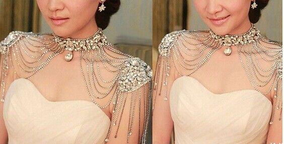Cheap Bridal Crystal Shoulder Necklace Cheap Wedding Bridal