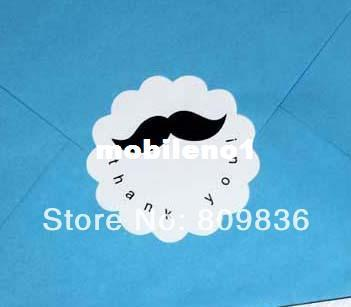 Wholesale-Cute Mustache Thank You Stickers Dia:6cm, Seal sticker (ss-6846)