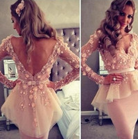 Wholesale Organza Mermaid Dress For Cheap - 2017 Backless Long Sleeves Cocktail Gowns Tulle Mermaid Prom Dresses Short Party Dresses With V Neck Appliques For Women Cheap