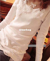 Wholesale Sexy Cozy - Wholesale-2014 new fashion hot cozy t shirt women clothing autumn sexy tops tee clothes blouses t-shirt Crochet Sets of fingers Slim