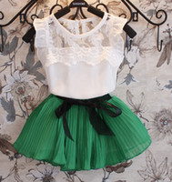 Wholesale Girls Outfit Ems - Summer Children Clothing Girls 2pcs Sets Kid Short Sleeve Lace T Shirt Tops + Bow Pleated Skirt Outfit Kid Girl Sweet Outfits EMS Free I1568