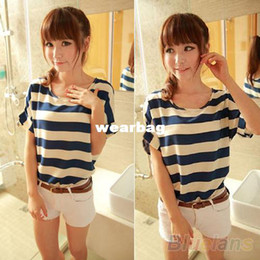 Wholesale Womens Batwing Tops Blouse - Wholesale-2014 Lady's Casual Fashion Womens Batwing Blouse Chiffon Striped Short Sleeve Loose Tops T-shirt