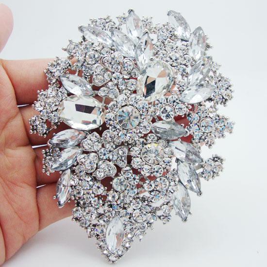Pendenti in argento placcato argento-chiaro doppio cristallo strass doppio goccioline fiore Art Nouveau spille pendenti