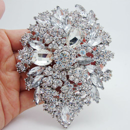 Wholesale Dual Brooch - Wholesale-Clear White Crystal Rhinestone Dual Droplets Flower Art Nouveau brooch pins silver plate pendants
